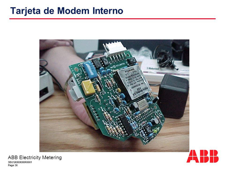 3BUSXXXXXXR0001 Page 36 ABB Electricity Metering Tarjeta de Modem Interno