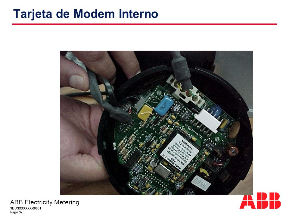 3BUSXXXXXXR0001 Page 37 ABB Electricity Metering Tarjeta de Modem Interno