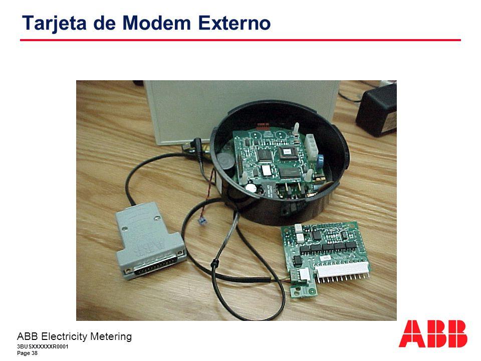 3BUSXXXXXXR0001 Page 38 ABB Electricity Metering Tarjeta de Modem Externo