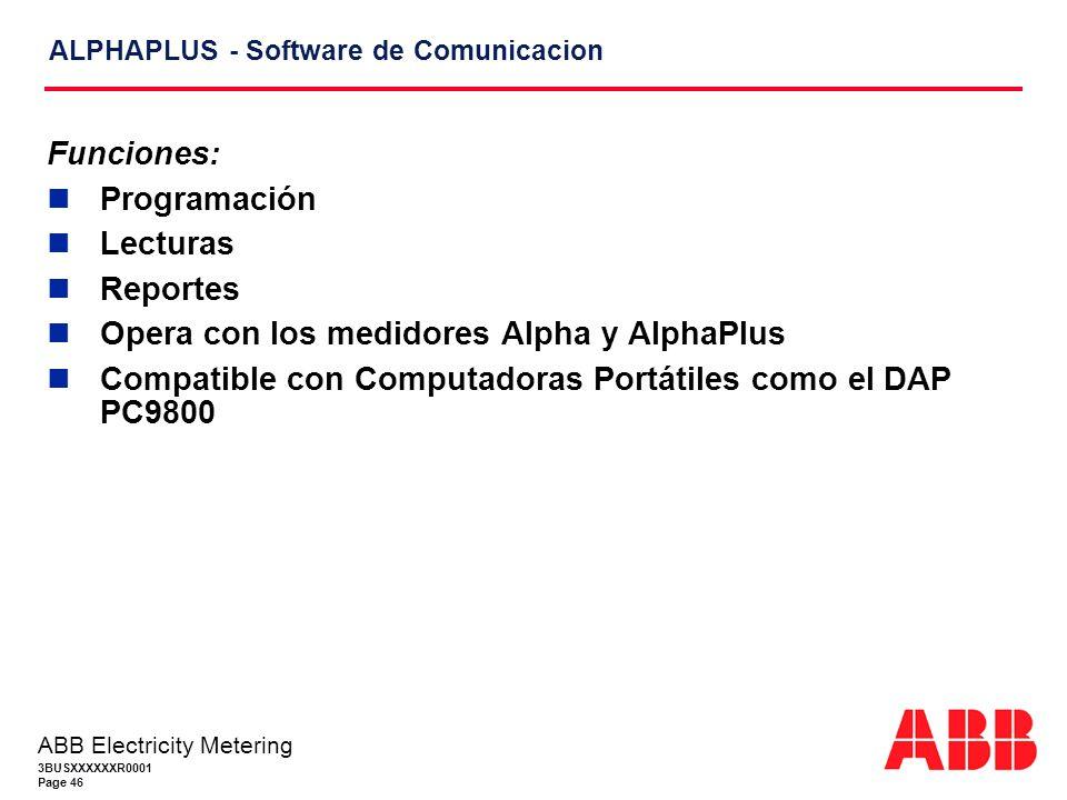 3BUSXXXXXXR0001 Page 46 ABB Electricity Metering ALPHAPLUS - Software de Comunicacion Funciones: Programación Lecturas Reportes Opera con los medidores Alpha y AlphaPlus Compatible con Computadoras Portátiles como el DAP PC9800