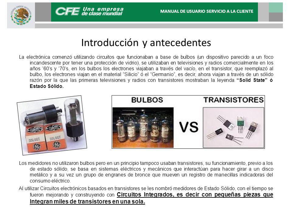 MANUAL DE USUARIO SERVICIO A LA CLIENTE Introducción y antecedentes La electrónica comenzó utilizando circuitos que funcionaban a base de bulbos (un d
