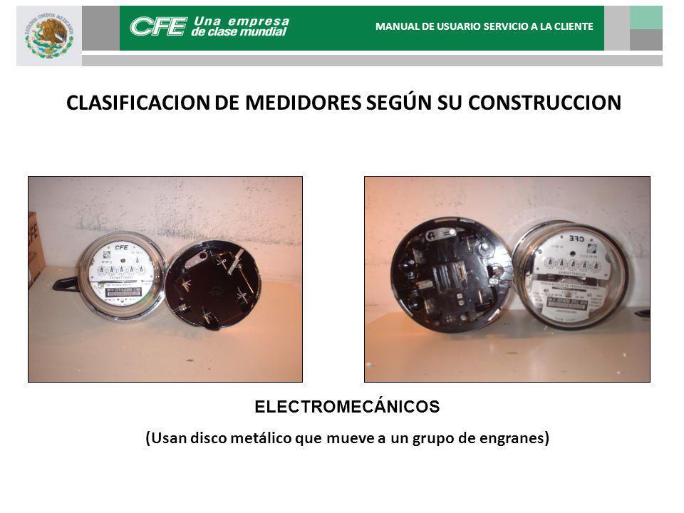 CLASIFICACION DE MEDIDORES SEGÚN SU CONSTRUCCION ELECTROMECÁNICOS (Usan disco metálico que mueve a un grupo de engranes) MANUAL DE USUARIO SERVICIO A LA CLIENTE