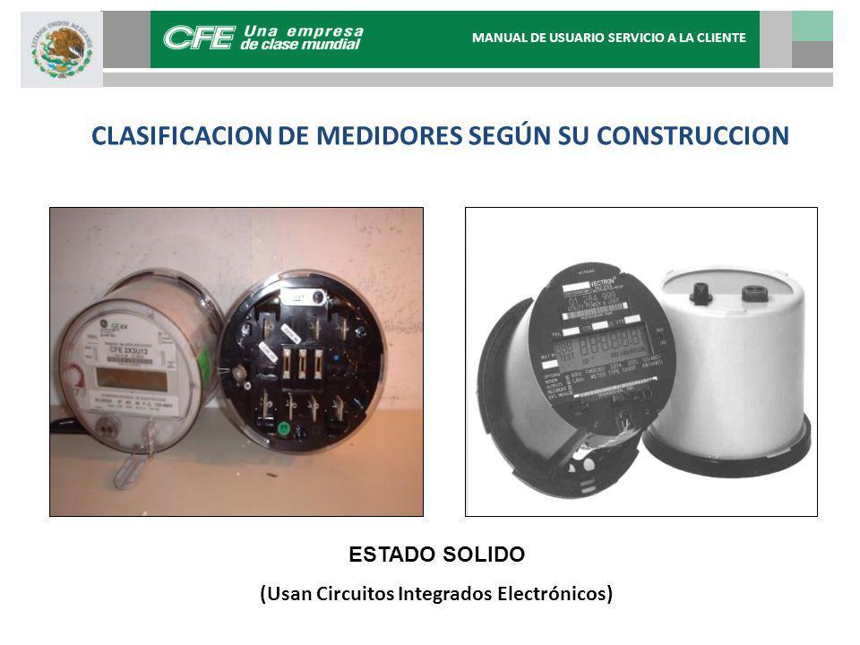 CLASIFICACION DE MEDIDORES ESTADO SOLIDO (Usan Circuitos Integrados Electrónicos) CLASIFICACION DE MEDIDORES SEGÚN SU CONSTRUCCION MANUAL DE USUARIO S