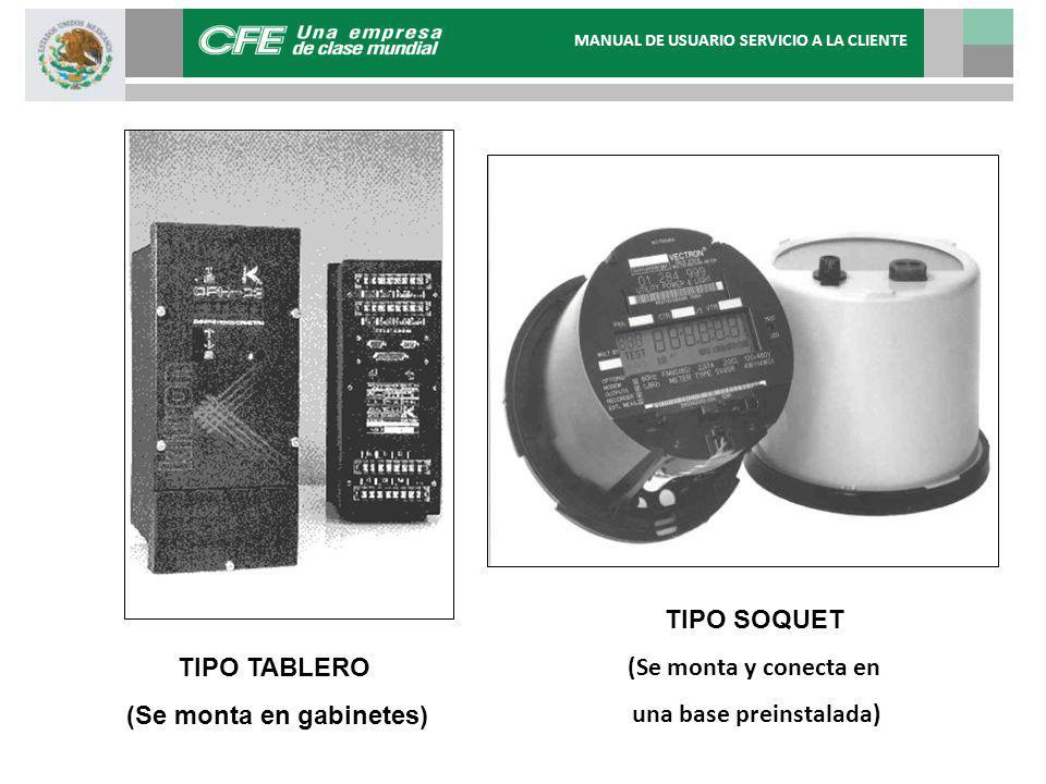 MEDIDORES DE ESTADO SÓLIDO TIPO SOQUET (Se monta y conecta en una base preinstalada) TIPO TABLERO (Se monta en gabinetes) MANUAL DE USUARIO SERVICIO A