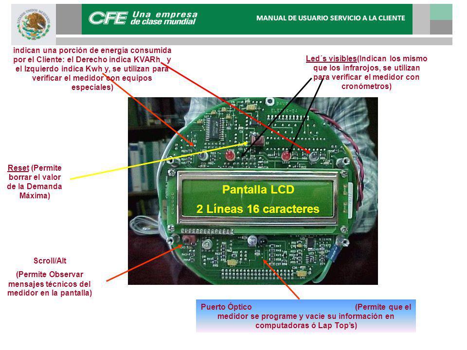 Pantalla LCD 2 Líneas 16 caracteres Led´s visibles(Indican los mismo que los infrarojos, se utilizan para verificar el medidor con cronómetros) Reset (Permite borrar el valor de la Demanda Máxima) Scroll/Alt (Permite Observar mensajes técnicos del medidor en la pantalla) Puerto Óptico (Permite que el medidor se programe y vacíe su información en computadoras ó Lap Tops) Led´s Infra-rojo (Cada vez que brillan indican una porción de energía consumida por el Cliente: el Derecho indica KVARh y el Izquierdo indica Kwh y, se utilizan para verificar el medidor con equipos especiales) MANUAL DE USUARIO SERVICIO A LA CLIENTE