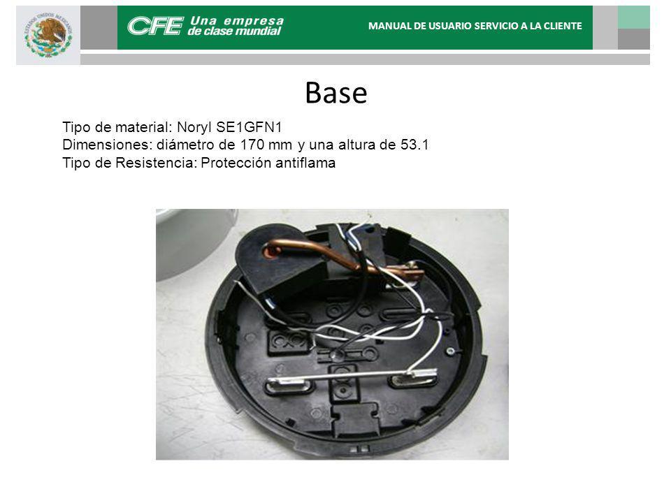 Base Tipo de material: Noryl SE1GFN1 Dimensiones: diámetro de 170 mm y una altura de 53.1 Tipo de Resistencia: Protección antiflama MANUAL DE USUARIO SERVICIO A LA CLIENTE