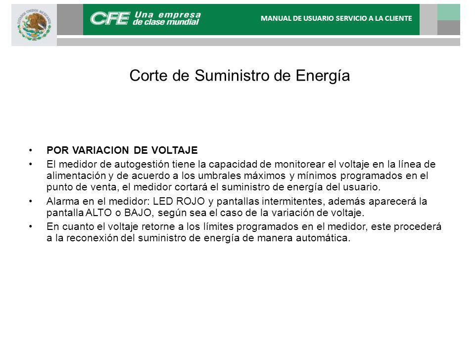 Corte de Suministro de Energía POR VARIACION DE VOLTAJE El medidor de autogestión tiene la capacidad de monitorear el voltaje en la línea de alimentac