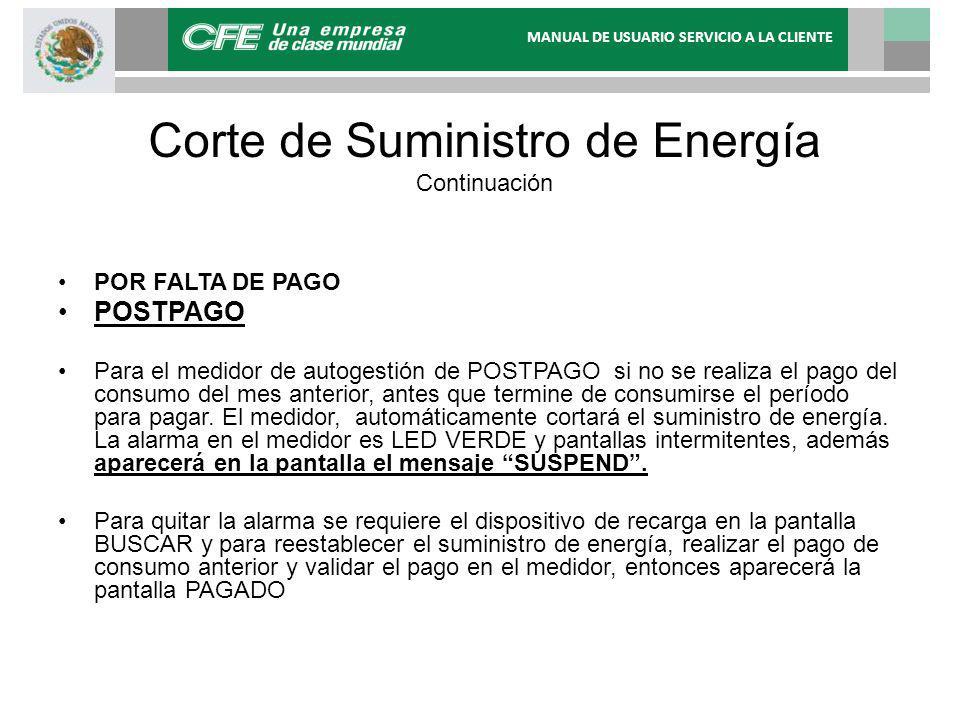 Corte de Suministro de Energía Continuación POR FALTA DE PAGO POSTPAGO Para el medidor de autogestión de POSTPAGO si no se realiza el pago del consumo