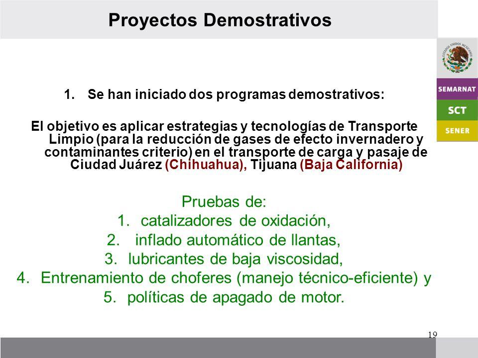 19 Proyectos Demostrativos 1.Se han iniciado dos programas demostrativos: El objetivo es aplicar estrategias y tecnologías de Transporte Limpio (para la reducción de gases de efecto invernadero y contaminantes criterio) en el transporte de carga y pasaje de Ciudad Juárez (Chihuahua), Tijuana (Baja California) Pruebas de: 1.catalizadores de oxidación, 2.
