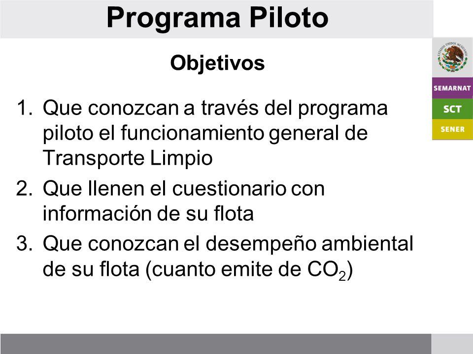 Programa Piloto Objetivos 1.Que conozcan a través del programa piloto el funcionamiento general de Transporte Limpio 2.Que llenen el cuestionario con información de su flota 3.Que conozcan el desempeño ambiental de su flota (cuanto emite de CO 2 )