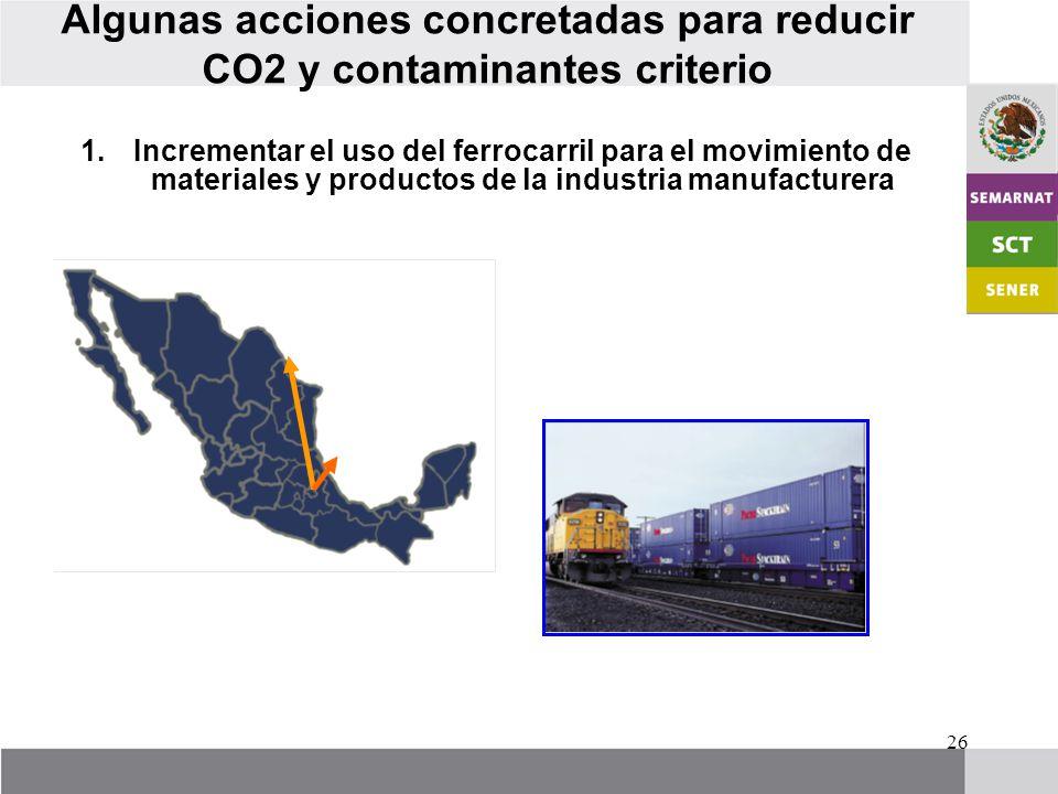 26 Algunas acciones concretadas para reducir CO2 y contaminantes criterio 1.Incrementar el uso del ferrocarril para el movimiento de materiales y productos de la industria manufacturera