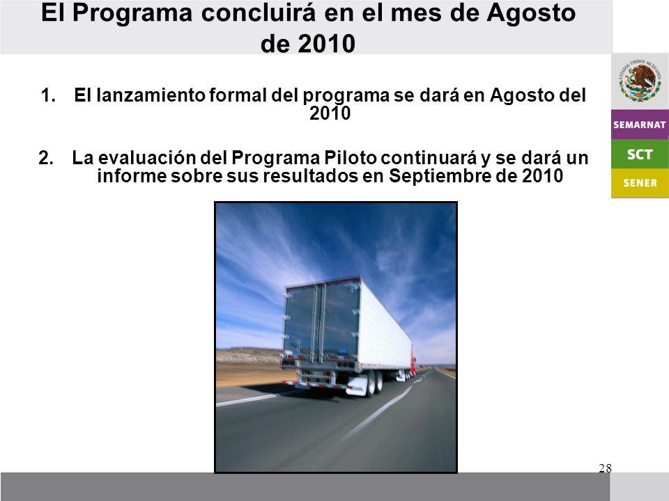 28 El Programa concluirá en el mes de Agosto de 2010 1.El lanzamiento formal del programa se dará en Agosto del 2010 2.La evaluación del Programa Piloto continuará y se dará un informe sobre sus resultados en Septiembre de 2010