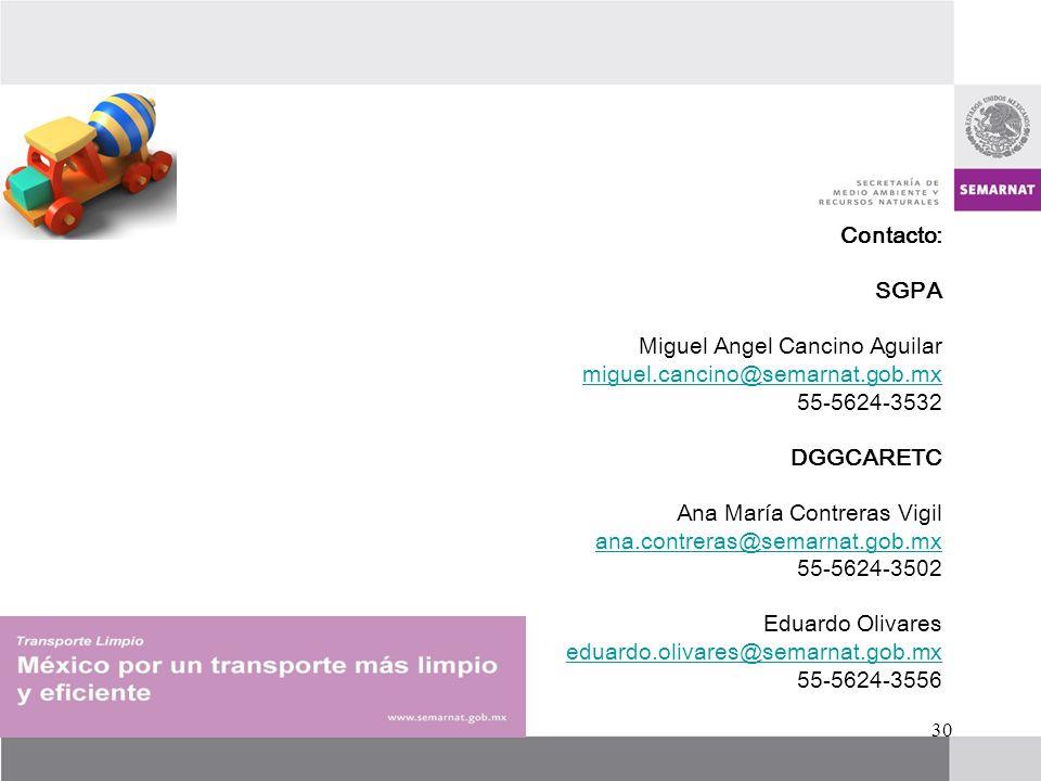 Contacto: SGPA Miguel Angel Cancino Aguilar miguel.cancino@semarnat.gob.mx 55-5624-3532 DGGCARETC Ana María Contreras Vigil ana.contreras@semarnat.gob.mx 55-5624-3502 Eduardo Olivares eduardo.olivares@semarnat.gob.mx 55-5624-3556 30