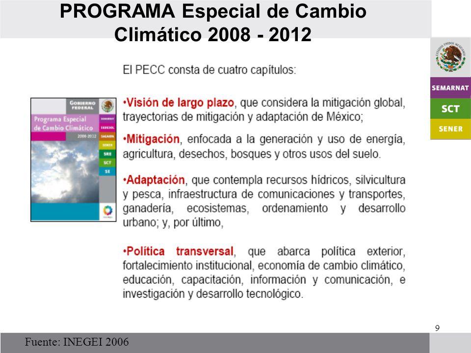 9 PROGRAMA Especial de Cambio Climático 2008 - 2012 Fuente: INEGEI 2006