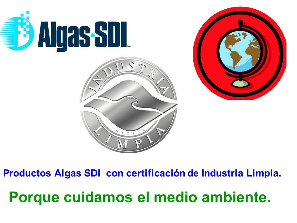 Productos Algas SDI con certificación de Industria Limpia. Porque cuidamos el medio ambiente.