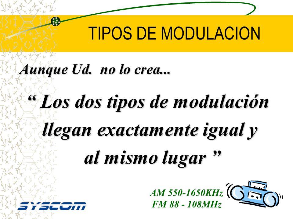 TIPOS DE MODULACION AM: –Mediana calidad de voz. FM: –La calidad de voz es mucho mejor. –FM exige buen nivel en la señal de RF.