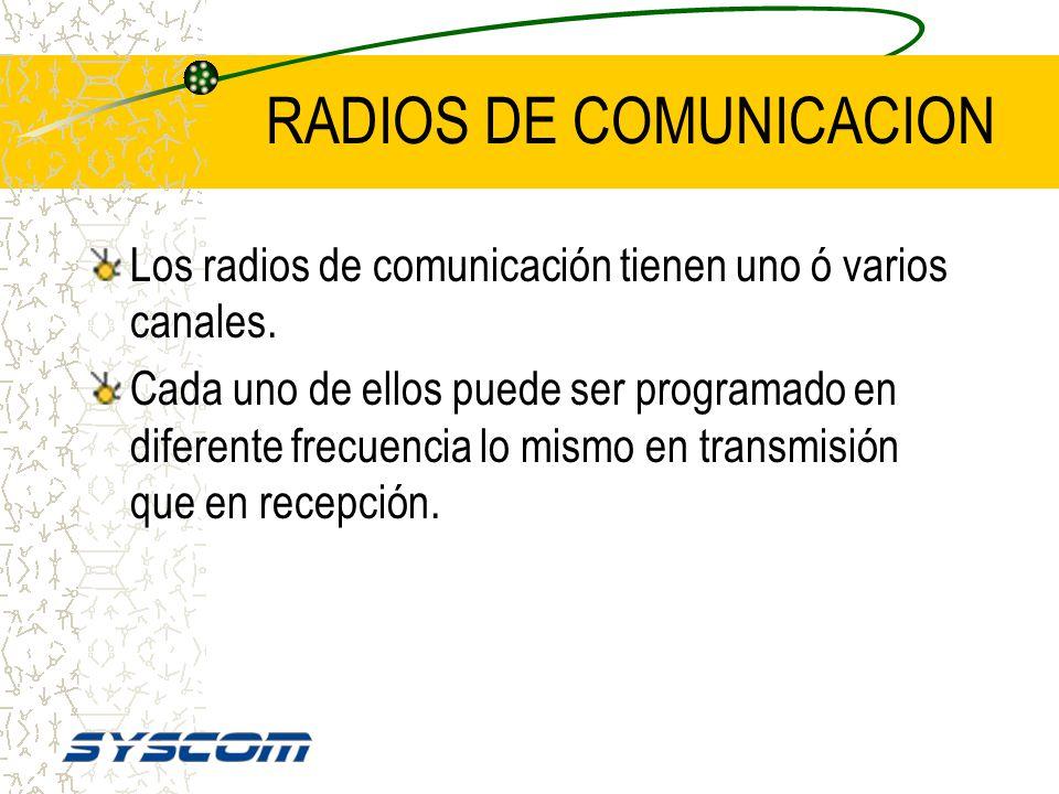 RADIOS DE COMUNICACION Los radios de comunicación son programables en cuanto a frecuencia de TRANSMISION y frecuencia de RECEPCION. También son progra