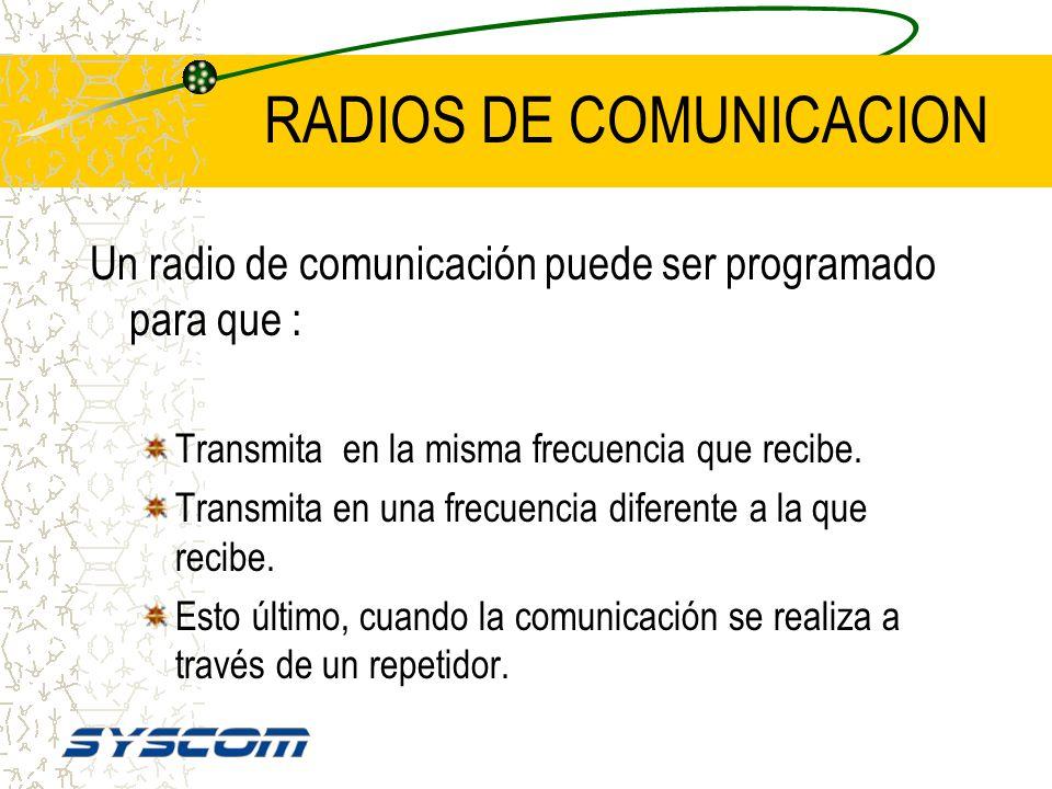 RADIOS DE COMUNICACION Los radios de comunicación tienen uno ó varios canales. Cada uno de ellos puede ser programado en diferente frecuencia lo mismo