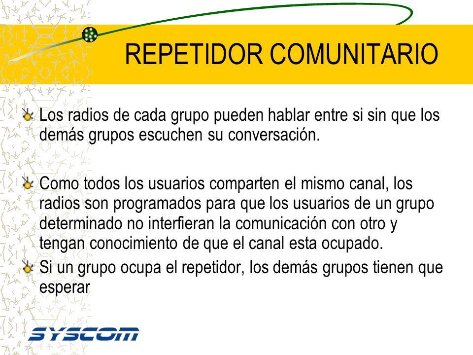 REPETIDOR COMUNITARIO Un repetidor puede dar servicio a una cantidad determinada de flotillas agrupadas de acuerdo a una señalización. Esta señalizaci