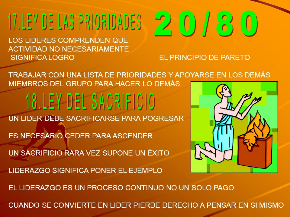 LOS LIDERES COMPRENDEN QUE ACTIVIDAD NO NECESARIAMENTE SIGNIFICA LOGRO EL PRINCIPIO DE PARETO TRABAJAR CON UNA LISTA DE PRIORIDADES Y APOYARSE EN LOS DEMÁS MIEMBROS DEL GRUPO PARA HACER LO DEMÁS UN LIDER DEBE SACRIFICARSE PARA POGRESAR ES NECESARIO CEDER PARA ASCENDER UN SACRIFICIO RARA VEZ SUPONE UN ÉXITO LIDERAZGO SIGNIFICA PONER EL EJEMPLO EL LIDERAZGO ES UN PROCESO CONTINUO NO UN SOLO PAGO CUANDO SE CONVIERTE EN LIDER PIERDE DERECHO A PENSAR EN SI MISMO