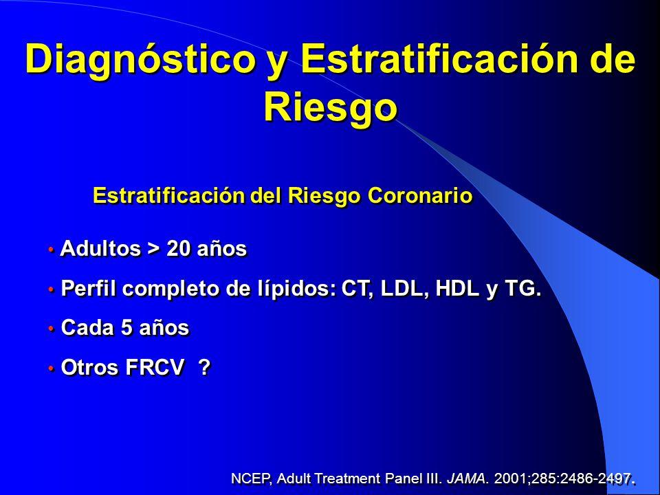 Diagnóstico y Estratificación de Riesgo Estratificación del Riesgo Coronario Adultos > 20 años Perfil completo de lípidos: CT, LDL, HDL y TG. Cada 5 a