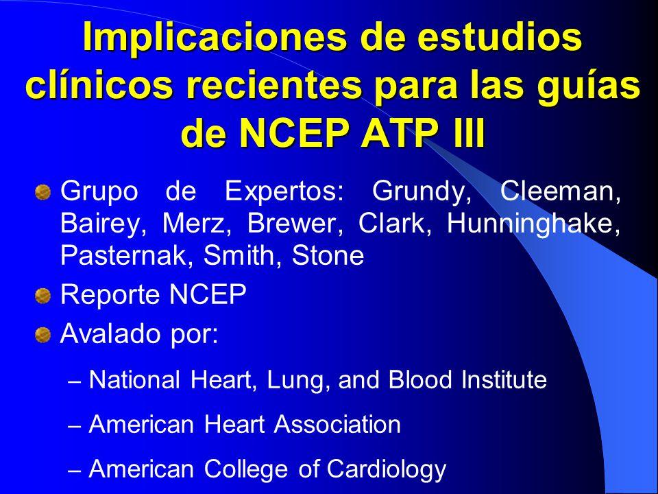 Implicaciones de estudios clínicos recientes para las guías de NCEP ATP III Grupo de Expertos: Grundy, Cleeman, Bairey, Merz, Brewer, Clark, Hunningha