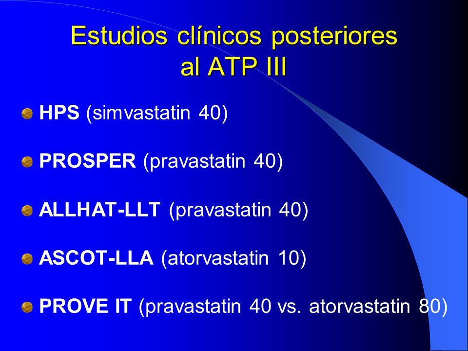 Estudios clínicos posteriores al ATP III HPS (simvastatin 40) PROSPER (pravastatin 40) ALLHAT-LLT (pravastatin 40) ASCOT-LLA (atorvastatin 10) PROVE I