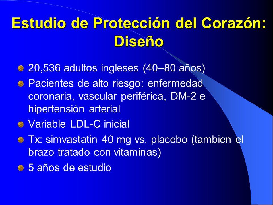 Estudio de Protección del Corazón: Diseño 20,536 adultos ingleses (40–80 años) Pacientes de alto riesgo: enfermedad coronaria, vascular periférica, DM