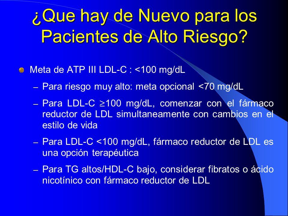 ¿Que hay de Nuevo para los Pacientes de Alto Riesgo? Meta de ATP III LDL-C : <100 mg/dL – Para riesgo muy alto: meta opcional <70 mg/dL – Para LDL-C 1