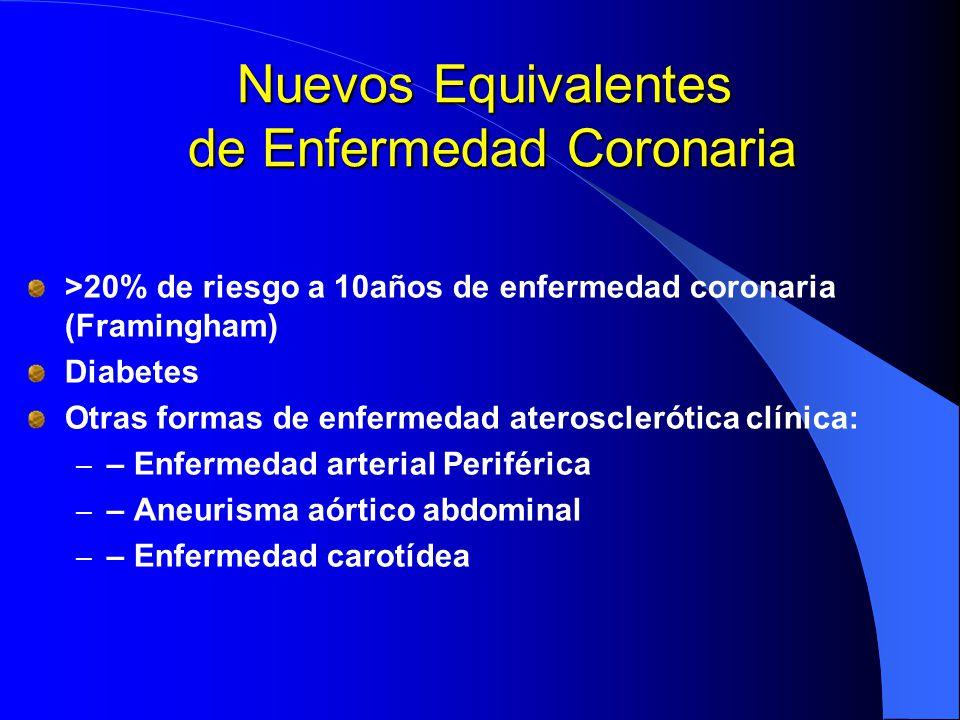 Nuevos Equivalentes de Enfermedad Coronaria >20% de riesgo a 10años de enfermedad coronaria (Framingham) Diabetes Otras formas de enfermedad ateroscle