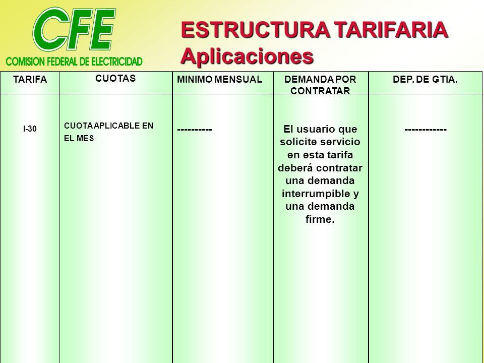 ESTRUCTURA TARIFARIA Aplicaciones TARIFA I-30 CUOTAS CUOTA APLICABLE EN EL MES MINIMO MENSUAL ---------- DEMANDA POR CONTRATAR El usuario que solicite servicio en esta tarifa deberá contratar una demanda interrumpible y una demanda firme.