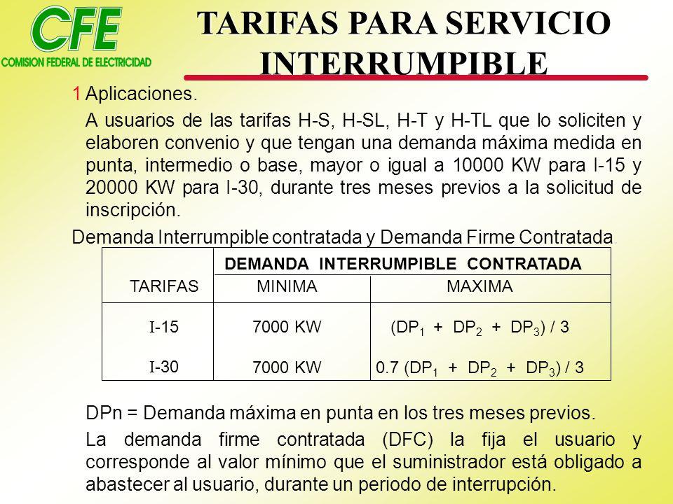 TARIFAS I -15 I -30 MINIMA 7000 KW MAXIMA (DP 1 + DP 2 + DP 3 ) / 3 0.7 (DP 1 + DP 2 + DP 3 ) / 3 DEMANDA INTERRUMPIBLE CONTRATADA TARIFAS PARA SERVICIO INTERRUMPIBLE 1Aplicaciones.