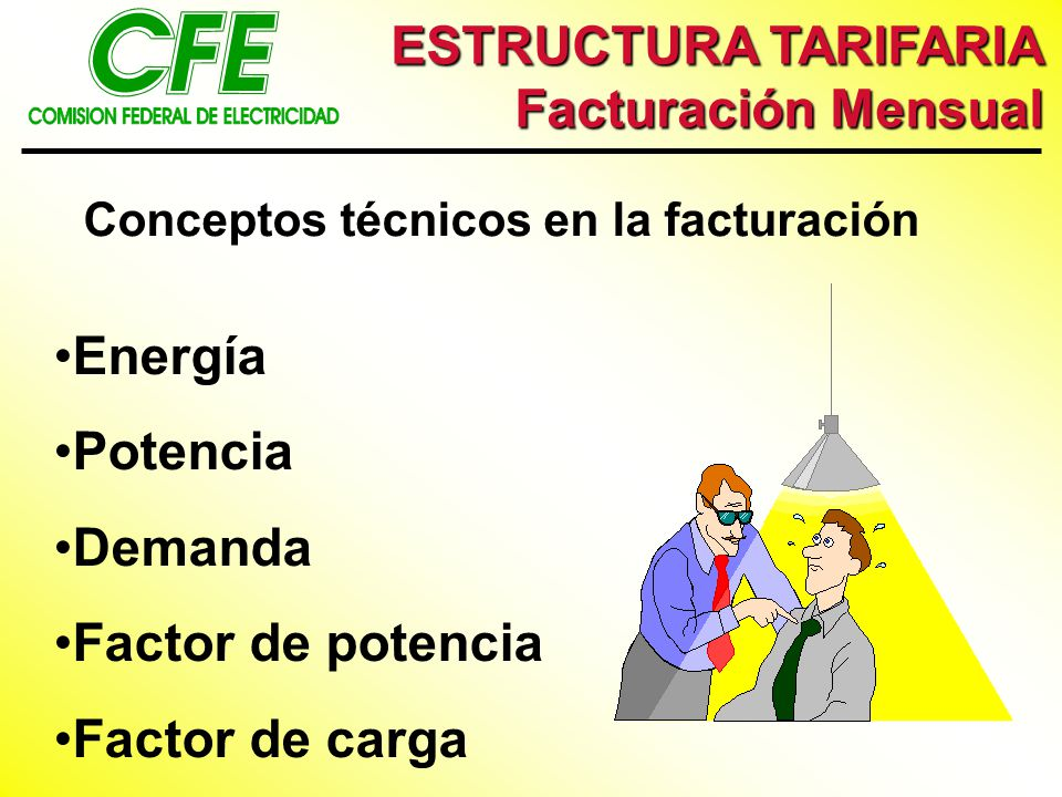 Energía Potencia Demanda Factor de potencia Factor de carga Conceptos técnicos en la facturación ESTRUCTURA TARIFARIA Facturación Mensual