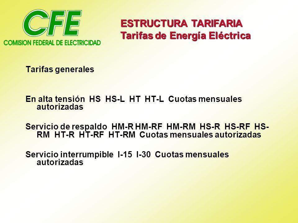 Tarifas generales En alta tensión HS HS-L HT HT-L Cuotas mensuales autorizadas Servicio de respaldo HM-R HM-RF HM-RM HS-R HS-RF HS- RM HT-R HT-RF HT-RM Cuotas mensuales autorizadas Servicio interrumpible I-15 I-30 Cuotas mensuales autorizadas ESTRUCTURA TARIFARIA Tarifas de Energía Eléctrica