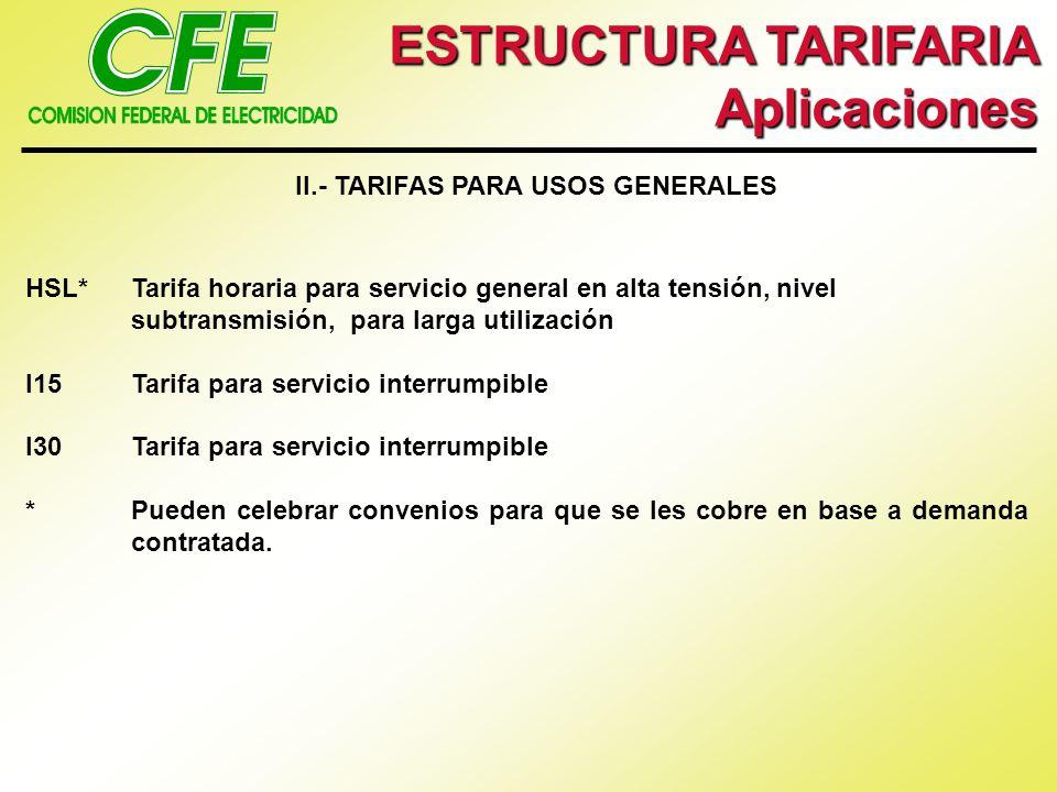 ESTRUCTURA TARIFARIA Aplicaciones III.- TARIFAS DE RESPALDO EN ALTA Y MEDIA TENSION HS-RTarifa horaria para servicios de respaldo para fallas y mantenimiento en alta tensión, nivel subtransmisión HS-RFTarifa horaria para servicios de respaldo para fallas en alta tensión, nivel subtransmisión HS-RMTarifa horaria para servicios de respaldo para mantenimiento programado en alta tensión, nivel subtransmisión HT-RTarifa horaria para servicios de respaldo para fallas y mantenimiento en alta tensión, nivel transmisión HT-RFTarifa horaria para servicios de respaldo para falla, en alta tensión, nivel transmisión HT-RMTarifa horaria para servicios de respaldo para mantenimiento programado en alta tensión, nivel transmisión