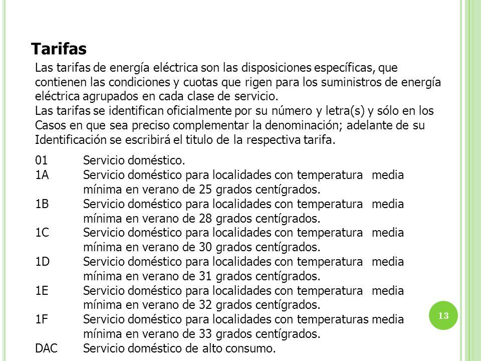 13 Tarifas Las tarifas de energía eléctrica son las disposiciones específicas, que contienen las condiciones y cuotas que rigen para los suministros d