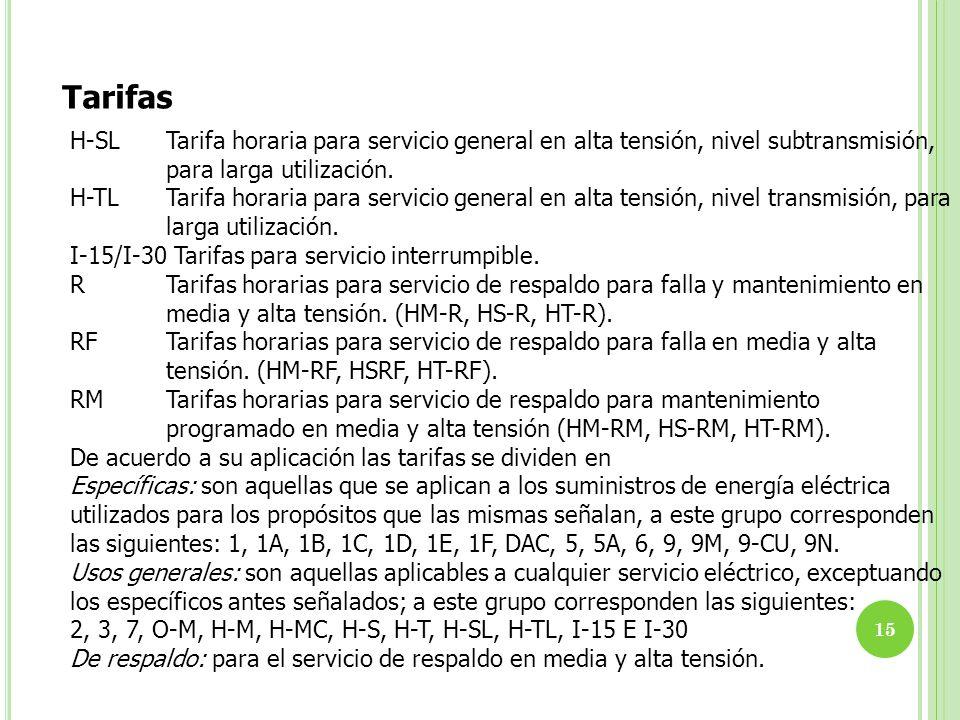 15 Tarifas H-SLTarifa horaria para servicio general en alta tensión, nivel subtransmisión, para larga utilización. H-TLTarifa horaria para servicio ge