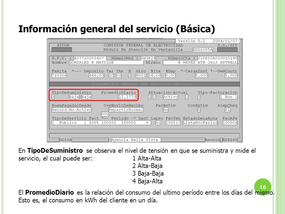 Información general del servicio (Básica) En TipoDeSuministro se observa el nivel de tensión en que se suministra y mide el servicio, el cual puede se