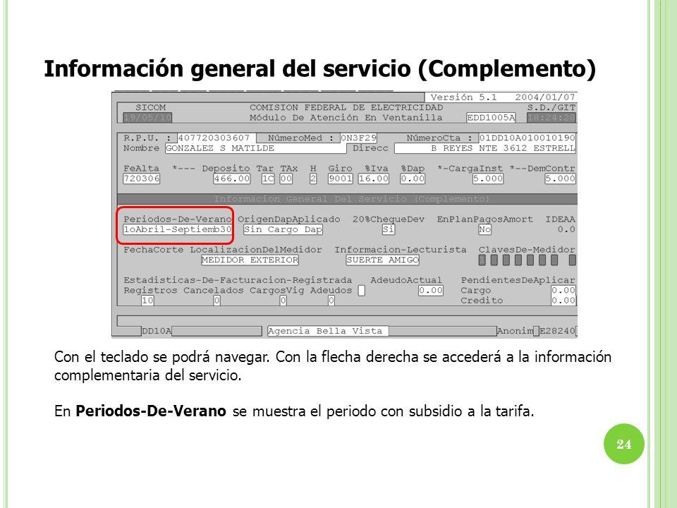 Información general del servicio (Complemento) Con el teclado se podrá navegar. Con la flecha derecha se accederá a la información complementaria del