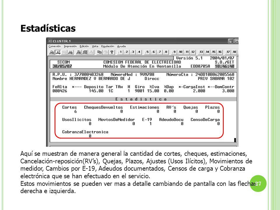 Estadísticas Aquí se muestran de manera general la cantidad de cortes, cheques, estimaciones, Cancelación-reposición(RVs), Quejas, Plazos, Ajustes (Us