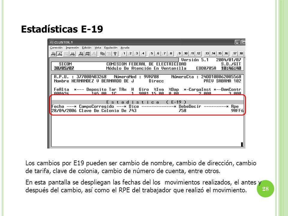 Estadísticas E-19 Los cambios por E19 pueden ser cambio de nombre, cambio de dirección, cambio de tarifa, clave de colonia, cambio de número de cuenta