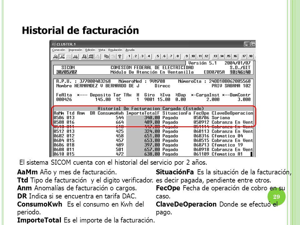 El sistema SICOM cuenta con el historial del servicio por 2 años. Historial de facturación AaMm Año y mes de facturación. Ttd Tipo de facturación y el