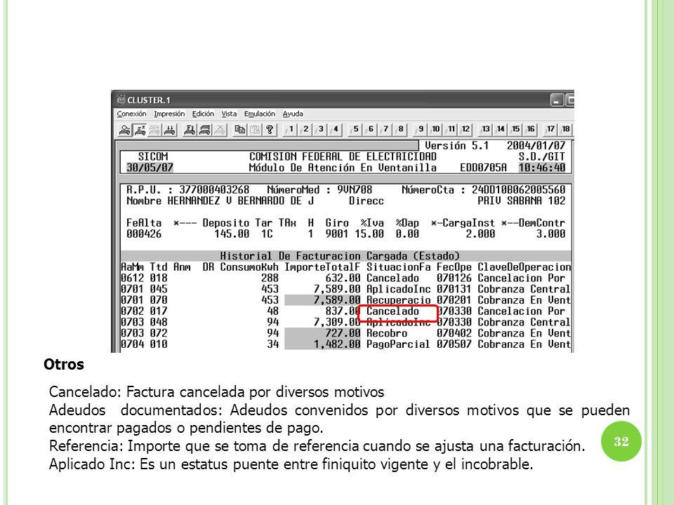 Otros Cancelado: Factura cancelada por diversos motivos Adeudos documentados: Adeudos convenidos por diversos motivos que se pueden encontrar pagados