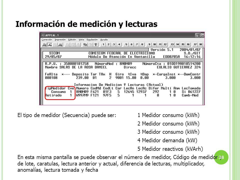Información de medición y lecturas El tipo de medidor (Secuencia) puede ser:1 Medidor consumo (kWh) 2 Medidor consumo (kWh) 3 Medidor consumo (kWh) 4