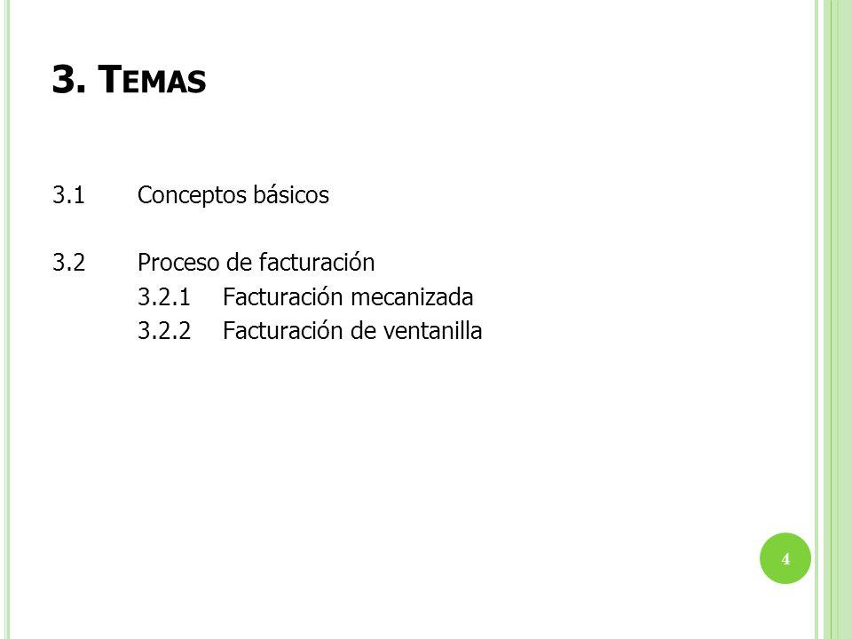 3. T EMAS 4 3.1 Conceptos básicos 3.2 Proceso de facturación 3.2.1 Facturación mecanizada 3.2.2 Facturación de ventanilla