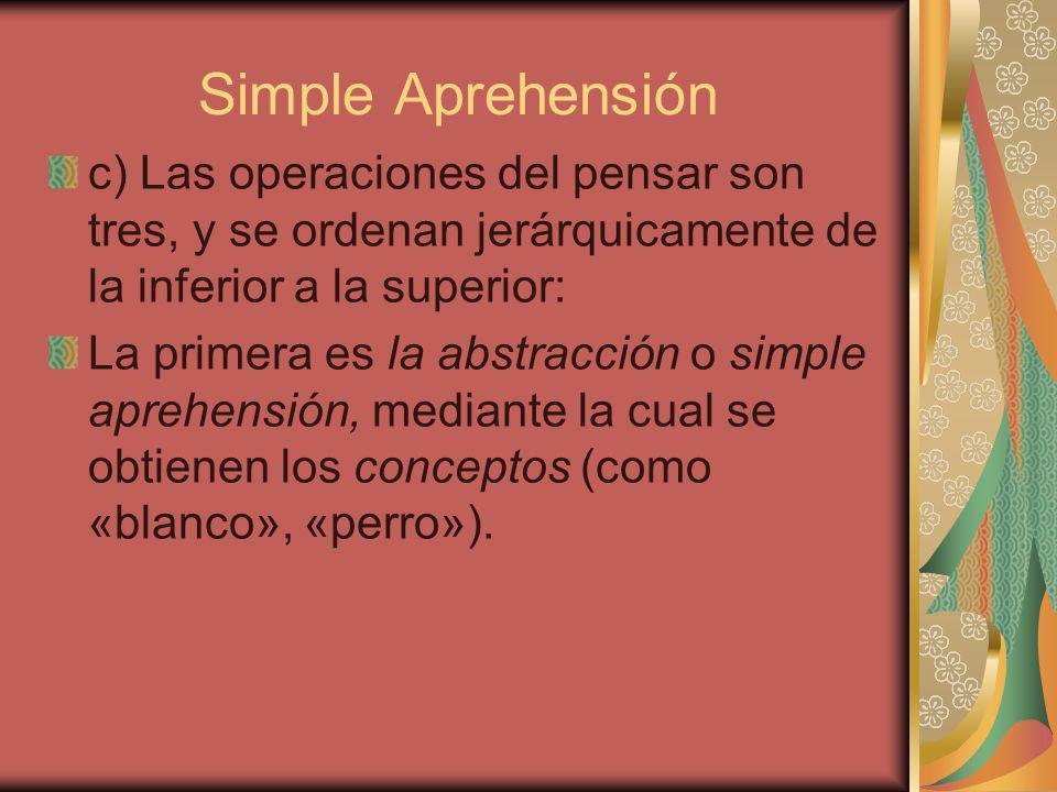 Simple Aprehensión c) Las operaciones del pensar son tres, y se ordenan jerárquicamente de la inferior a la superior: La primera es la abstracción o simple aprehensión, mediante la cual se obtienen los conceptos (como «blanco», «perro»).