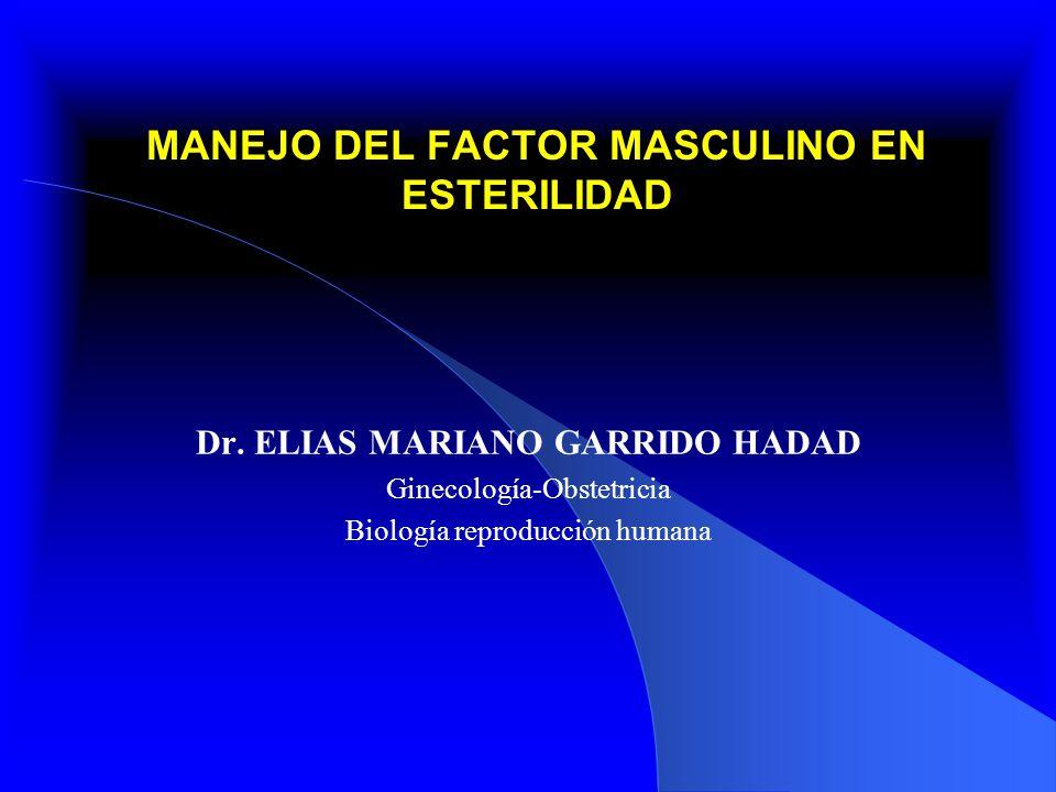 MANEJO DEL FACTOR MASCULINO EN ESTERILIDAD Dr. ELIAS MARIANO GARRIDO HADAD Ginecología-Obstetricia Biología reproducción humana