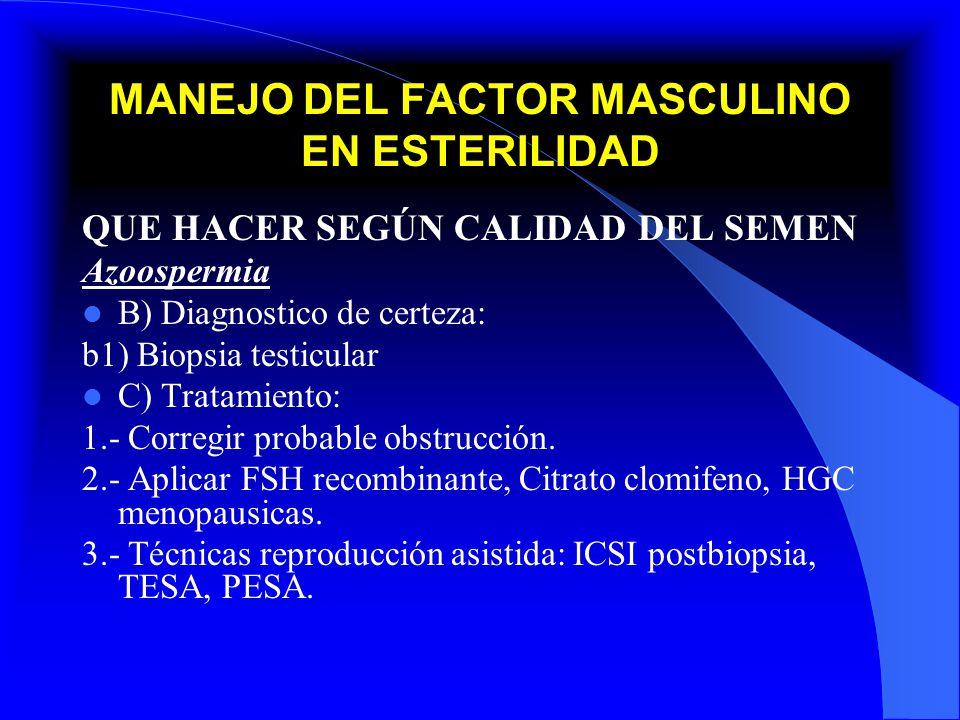 MANEJO DEL FACTOR MASCULINO EN ESTERILIDAD QUE HACER SEGÚN CALIDAD DEL SEMEN Azoospermia B) Diagnostico de certeza: b1) Biopsia testicular C) Tratamie