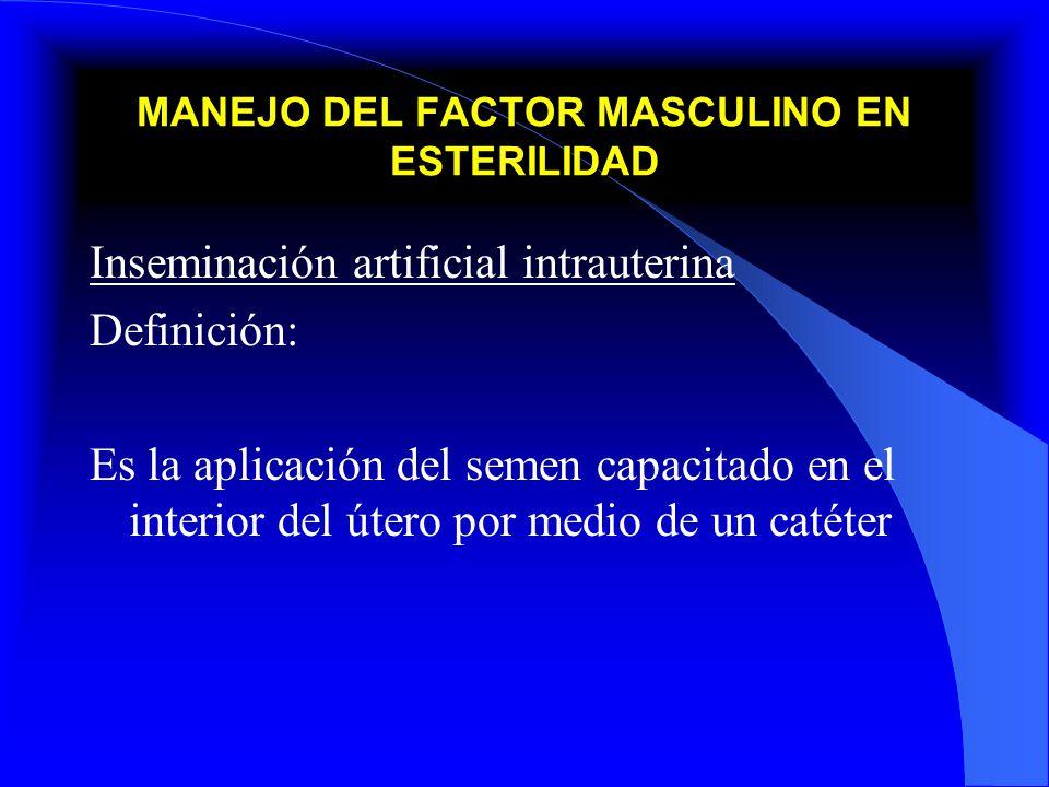 MANEJO DEL FACTOR MASCULINO EN ESTERILIDAD Inseminación artificial intrauterina Definición: Es la aplicación del semen capacitado en el interior del ú