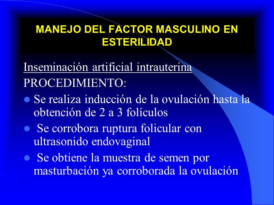 MANEJO DEL FACTOR MASCULINO EN ESTERILIDAD Inseminación artificial intrauterina PROCEDIMIENTO: Se realiza inducción de la ovulación hasta la obtención